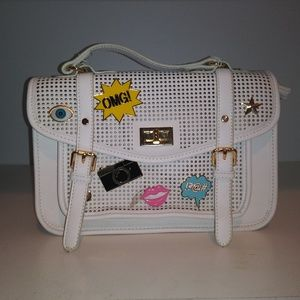 Charming Charlie White Satchel with Cute Pins